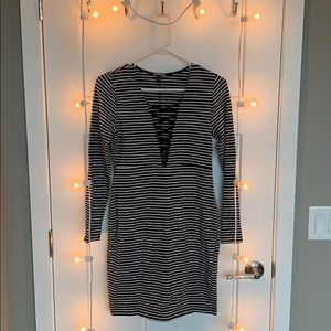 Express Black and White Striped Dress